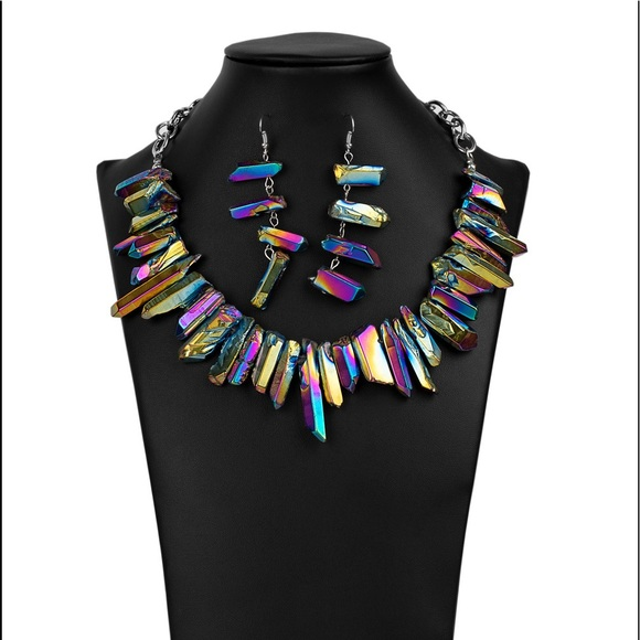 Oil Spill Necklace with Earrings